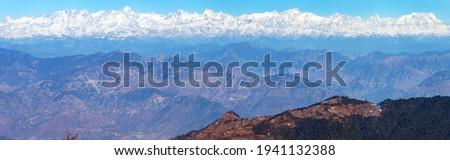 Mount Chaukhamba, Himalaya mountain, panoramic view of Indian Himalayas, great Himalayan range, Uttarakhand India, view from Mussoorie road