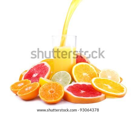 Mount citrus slices around glasses of juice