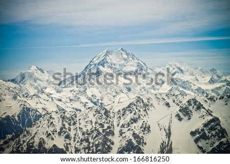 Mount Cook in the Southern Alps, West Coast, South Island, New Zealand