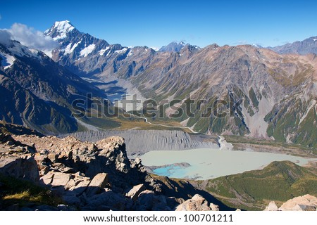 Mount Cook range with Mueller and Hooker lake, New Zealand