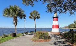Mount Dora Lighthouse located at the Port of Mount Dora in Grantham Point Park, Florida, a popular tourist destination.