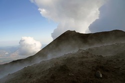 Mount Etna summit with active volcanic activity before eruption, Etna summit and crater trek hiking tour concept, Sicily, Italy