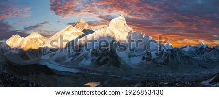 Mount Everest and Nuptse, himalaya, evening panoramic view with beautiful sunset clouds from Kala Patthar, Sagarmatha national park, Khumbu valley, Solukhumbu, Nepal Himalay mountain