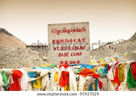 Mount Everest  Base Camp Elevation Sign with Prayer Flags in Tibet