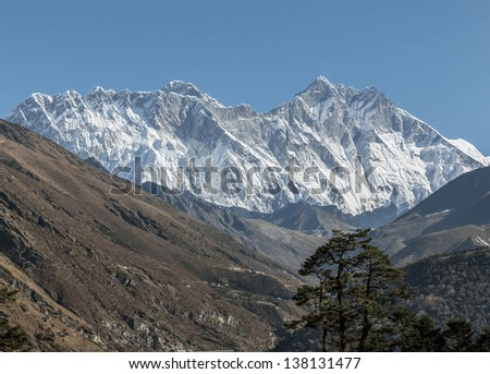 Mount Everest (8848 m) and Lhotse (8511 m) in the morning (view from Tengboche monastery) - Nepal, Himalayas
