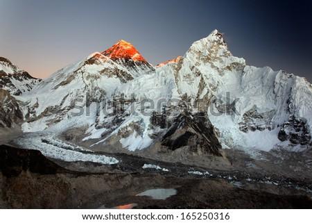 Mount Everest, Nuptse and Khumbu Glacier at sunset, viewed from Kala Pattar in the Nepal Himalaya