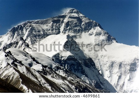 Mount Everest, the highest in the world, 8850m. North face.