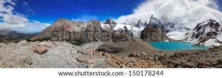 Mount Fitz Roy, El Chalten, Patagonia, Argentina, South America - stock photo