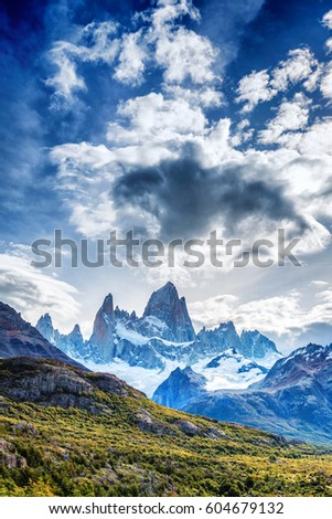 Mount Fitz Roy in Patagonia in Argentina and its neighboring granite towers #604679132