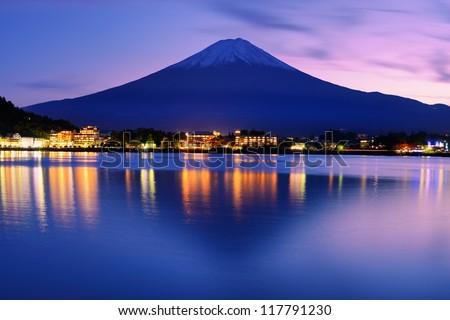 Mount Fuji at dusk near Lake Kawaguchi in Yamanashi Prefecture, Japan. - stock photo
