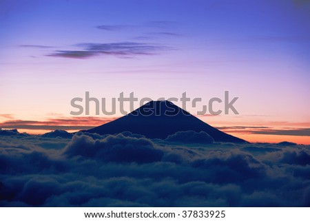 Mount Fuji enshrouded in clouds