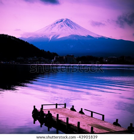 mount fuji in the sunset wiht lake front in japan.