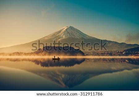 mount fuji san at lake...