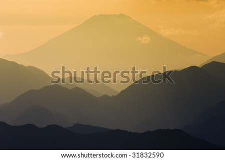 Mount Fuji - Sunset view from Mt. Takao near Tokyo