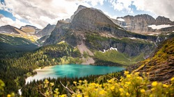 Mount Gould overlooking Grinnell Glacier Lake from the Grinnell Glacier Trail in Glacier National Park, Montana.