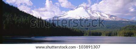 Mount Hood and Trillium Lake near Portland, Oregon - stock photo