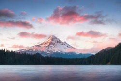 Mount Hood reflecting in Lost Lake at sunrise, in Mount Hood National Forest, Oregonstate. USA. Nature background concept.