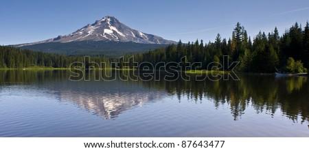 Mount Hood Smooth Water Reflection Timberline Trillium Lake Oregon United States