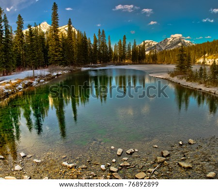 Mount Lorette Ponds off Highway 40 in early spring Kananaskis Country Alberta Canada - stock photo