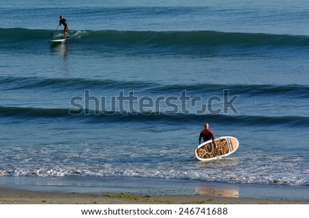 MOUNT MAUNGANUI, NZL - JAN 18 2015:People surf on stand up pedal board.It\'s an emerging global sport with a Hawaiian heritage.It\'s an ancient form of surfing for longer distances.