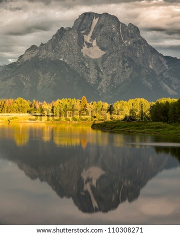Mount Moran from the Oxbow Bend Overlook at Grand Teton National Park near Jackson, Wyoming