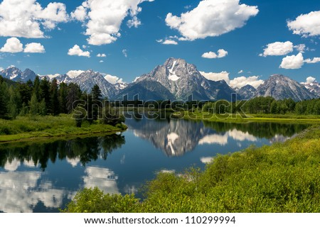 Mount Moran from the Oxbow Bend Turnout at Grand Teton National Park near Jackson, Wyoming
