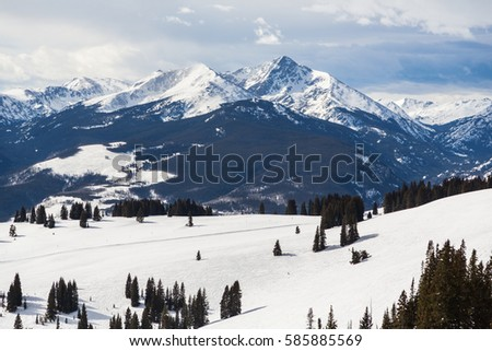 Mount of the Holy Cross. A famous fourteen thousand foot mountain in Colorado. Seen here from the back bowls of Vail Ski Area #585885569