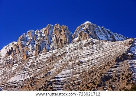 "MOUNT OLYMPUS, GREECE. To the left, Mytikas peak (also known as ""Pantheon""- 2918 m) to the right Stefani peak (also known as ""Throne of Zeus""), Pieria, Macedonia. Stock fotó ©"