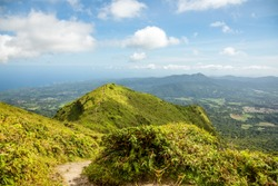 Mount Pelee green volcano hillside panorama, Martinique,  French overseas department