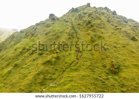 Mount Pelee green volcano hillside with hiking trail full of tourists, Martinique,  French overseas department Foto stock ©