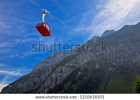 Mount Pilatus aerial cabelway above cliffs landscape, landscape of Switzerland