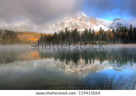 Mount Pyramid Reflection on Patricia Lake, Jasper, Canadian Rockies