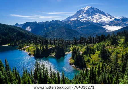 Mount Rainier and Eunice Lake as seen from Tolmie Peak #704016271