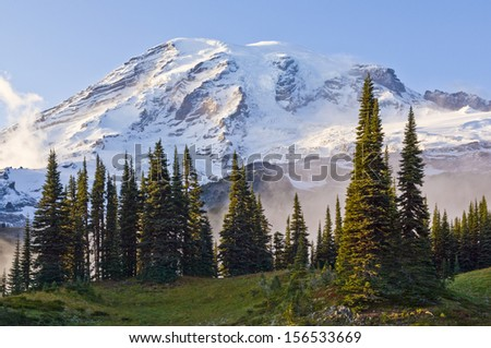 Mount Rainier In Early Evening Autumn Light View From