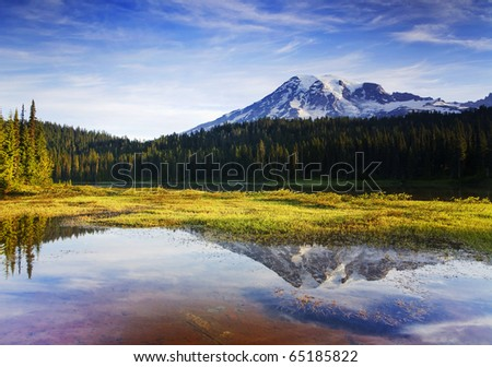 Mount Rainier Morning This image was taken at Reflection Lakes in Mt. Rainier National Park, WA.