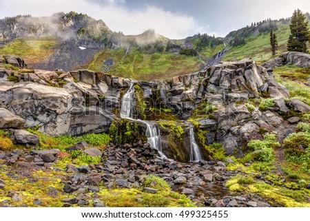 Mount Rainier Nature. Beautiful natural cascades in the alpine wilderness of Mount Rainier National Park, Washington State, USA