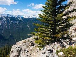 Mount Rundle spine and spectacular unspoiled scenery of the spray river valley