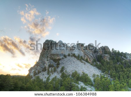 Mount Rushmore monument in South Dakota at sunset time