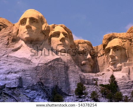 Mount Rushmore National Memorial in South Dakota featuring four famous US presidents (filtered image)