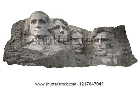 Mount Rushmore National Memorial in South Dakota (USA) isolated on white background #1217847049