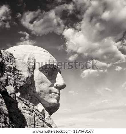 Mount Rushmore National Memorial with dramatic sky