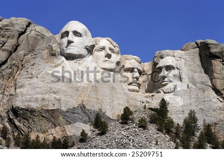 Mount Rushmore National Monument showing George Washington, Thomas Jefferson, Teddy Roosevelt and Abraham Lincoln (l-r).