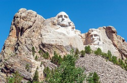 Mount Rushmore national monument with American presidents, South Dakota, United States of America, USA.
