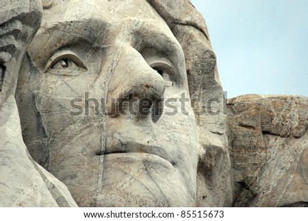 Mount Rushmore, South Dakota Black Hills: Thomas Jefferson Sculpture Face (April 13, 1743 - July 4, 1826) Was the Third President of the United States (1801-1809)