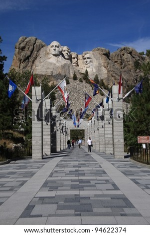 MOUNT RUSHMORE, SOUTH DAKOTA - SEPTEMBER 26: The Grand View Terrace approach to historic Mt. Rushmore on September 26, 2008 in South Dakota. 400 workers carved the 60 foot high sculpture.