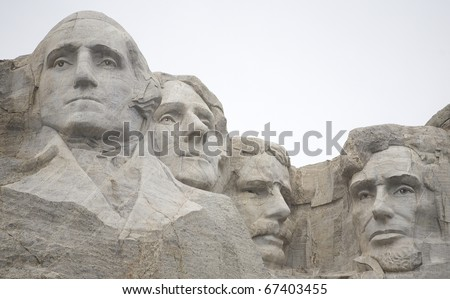 Mount Rushmore up close on a very overcast day