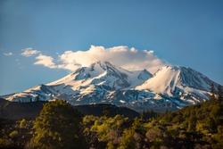 Mount Shasta from Amtrak Coast Starlight Train, Northern California