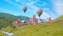 Mount Shkhara - Hot air balloon flying over Ushguli village - Upper Svaneti, Georgia