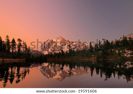 Mount Shuksan with the alpine glow after sunset