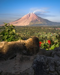 Mount Sinabung is a volcano located in Karo Regency, North Sumatra. Today, this mountain continues to exhibit dangerous vulcanic activity for the surrounding population.